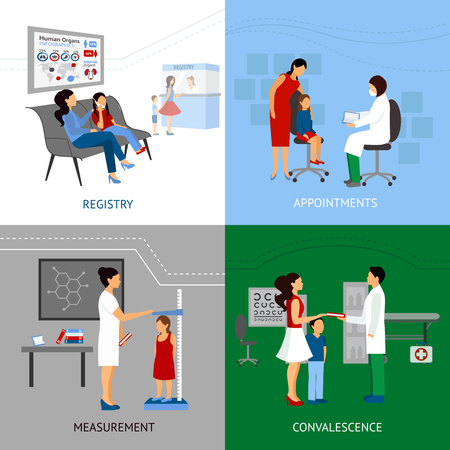 convalescence: Pediatrician design concept set with registry and apointment flat icons isolated vector illustration