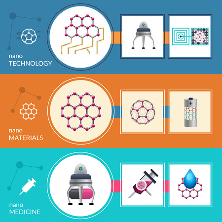 fabrication: Modern nanotechnology concept and applications in medicine and nanomaterials fabrication 3 flat banners set abstract vector illustration