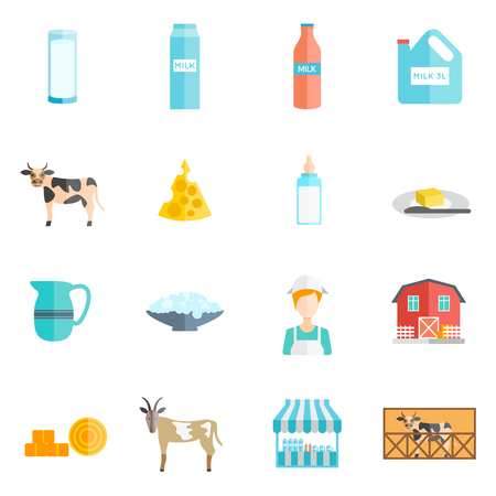 twarożek: Bio milk farm ecological dairy products online flat icons set with cottage cheese abstract isolated vector illustration Ilustracja