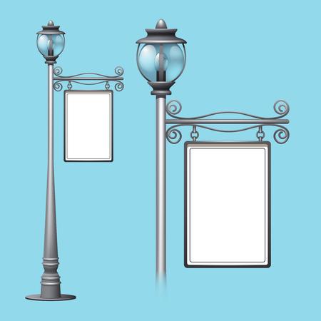 lamppost: Advertising billboard on old style street lamppost isolated vector illustration