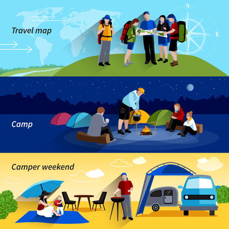 boot camp: Camper people horizontal banners set with camp family picnic and travel map symbols flat isolated vector illustration Illustration