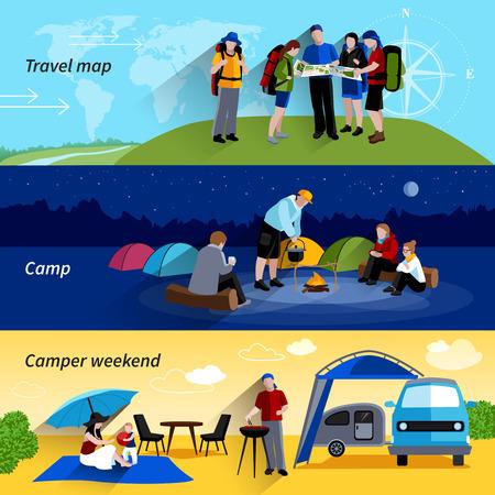 viaje familia: Gente Camper banners horizontales establecen con la comida campestre de la familia de campamento y mapa de viaje símbolos aislados plana ilustración vectorial Vectores