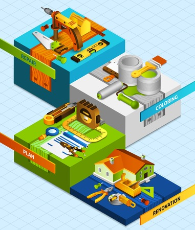 DIY concept with isometric renovation and coloring tools vector illustration
