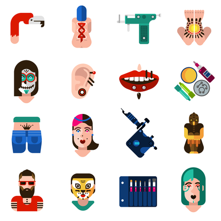 piercing: Flat style icons set with bodyart tattoo piercing and special equipments isolated vector illustration Illustration