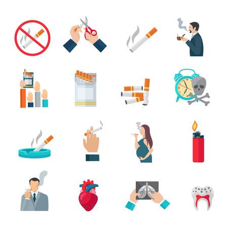 encendedores: Fumar iconos planos establecidos con la ilustración vectorial de peligro cigarrillo y peligros símbolos aislados
