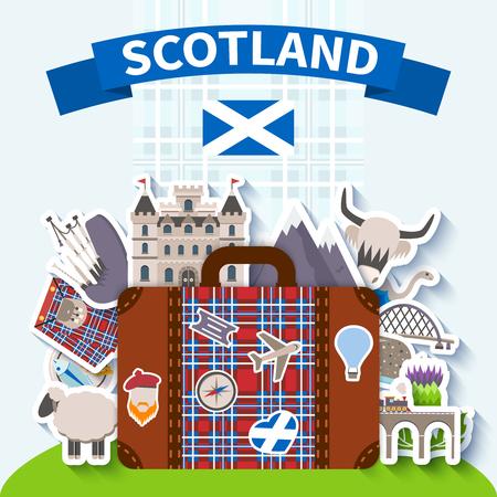 Antecedentes de viajes Escocia con los símbolos nacionales y la naturaleza ilustración vectorial plana Ilustración de vector