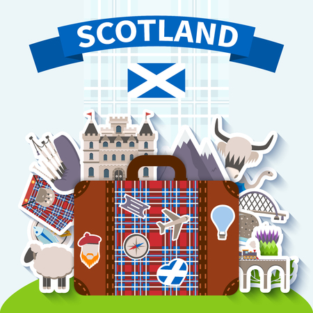 highland: Scotland travel background with national symbols and nature flat vector illustration