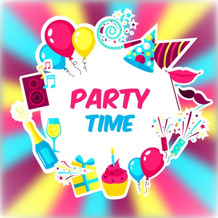 Celebration background with holiday symbols and party time text vector illustration