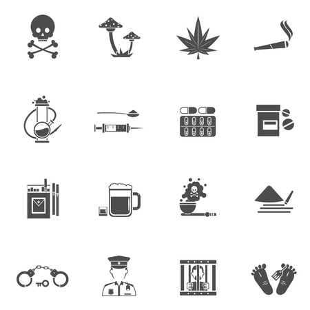 kill: Drugs black white icons set with danger for life symbols flat isolated vector illustration