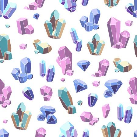 minerals: Crystal minerals and geometric gems flat seamless pattern vector illustration Illustration