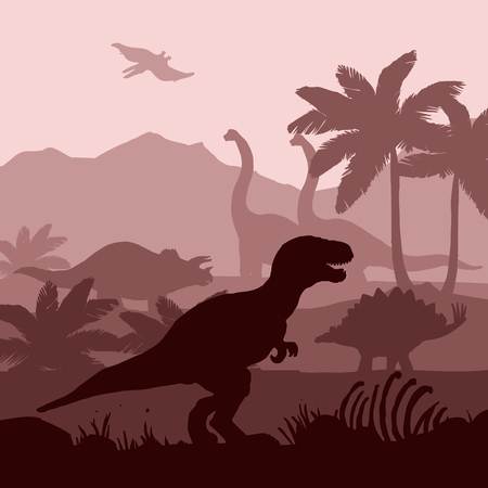 Dinosaurs silhouettes in prehistoric environment overlapping layers in brown shades decorative background banner abstract vector illustration Vettoriali