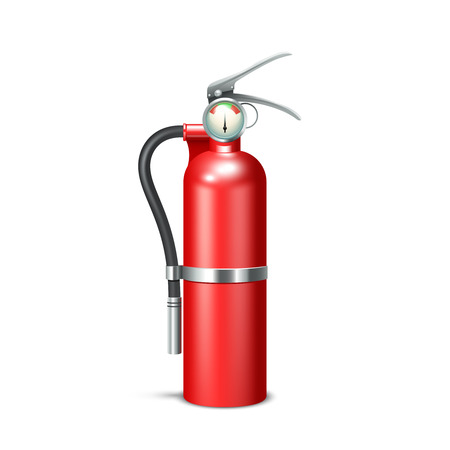 inflammable: Red realistic fire extinguisher isolated on white background vector illustration