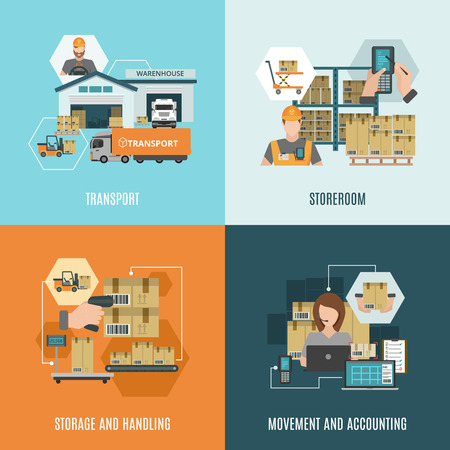 storing: Storehouse facilities and equipment for storing cargo 4 flat icons square composition banner abstract isolated vector illustration