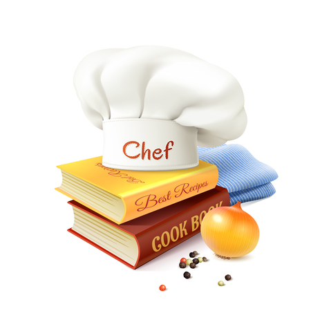 specialities: Chef and cooking realistic concept with cook books hat and onion vector illustration Illustration