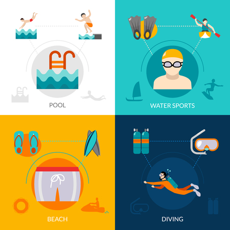 diving: Swimming design concept set with water sports flat icons isolated vector illustration Illustration