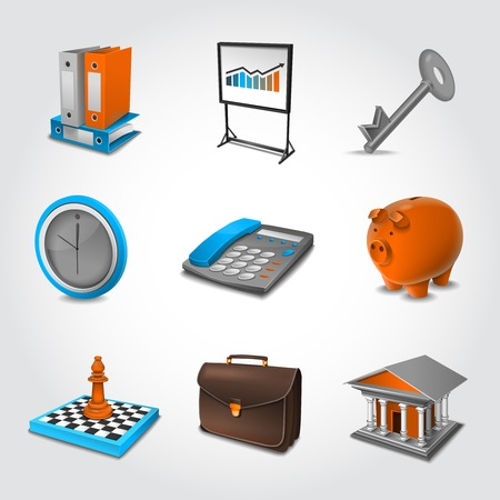 bank book: Business realistic icons set with briefcase  key piggy bank isolated vector illustration Illustration