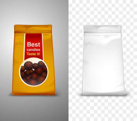 an example: Blank packaging design with best candies pack for example realistic isolated vector illustration