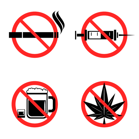 crossed cigarette: No drugs icons set with crossed syringe beer marijuana and cigarette signs flat isolated vector illustration