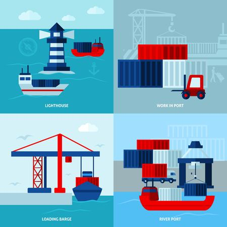 barge: Flat color seaport  concept  with ships lighthouse  and port facilities vector illustration