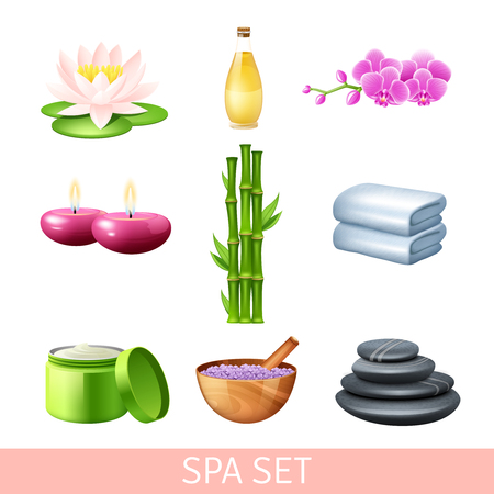 spa stones: Spa health care and wellness therapy set isolated vector illustration