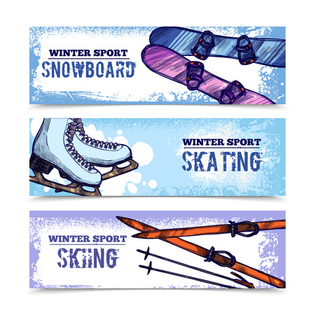 horizontal banner: Winter sport horizontal banner set with snowboard skating and skiing isolated vector illustration