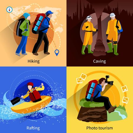 caving: Tourism icons set with hiking caving rafting and photo tourism symbols flat isolated vector illustration Illustration