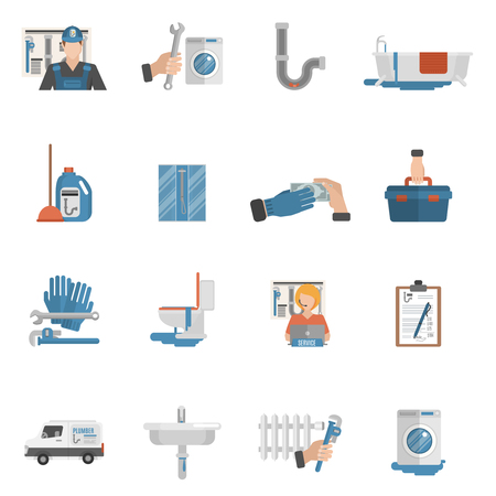 sewage system: Plumber flat icons collection with online service operator and bathroom shower cabin equipment abstract isolated vector illustration