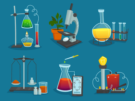 laboratory test: Design  icons set of laboratory equipment for science experiments  vector illustration Illustration