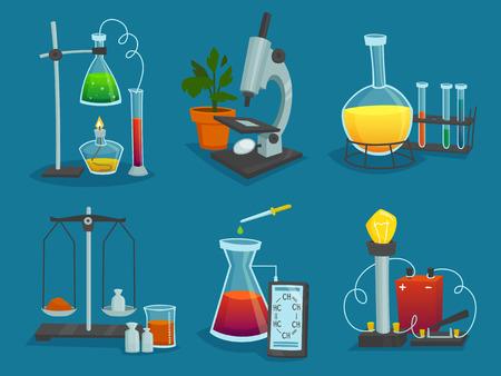 aparatos electricos: Iconos del diseño del conjunto de equipos de laboratorio para experimentos científicos ilustración vectorial