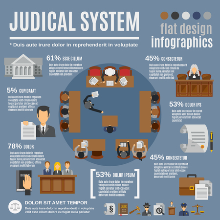 court law: Law infographics set with court and judical system elements vector illustration Illustration
