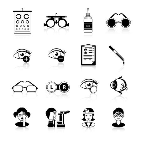 lentes de contacto: Oftalmología negro iconos blancos fijados con problemas de visión símbolos ilustración del vector aislado plana Vectores