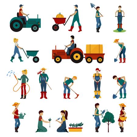 jardineros: las personas que cultivan un huerto con los iconos planos equipo establece la ilustración del vector aislado Vectores