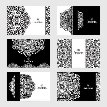 encajes: tarjetas decorativas se establece con la ilustraci�n vectorial elegantes mandalas monocromas aislado Vectores