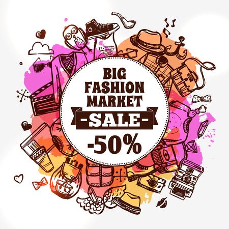 divat: Hipster divat ruházat kedvezmény nagy piaci értékesítés reklám bannert kör alakú kompozíció doodle absztrakt vektoros illusztráció Illusztráció