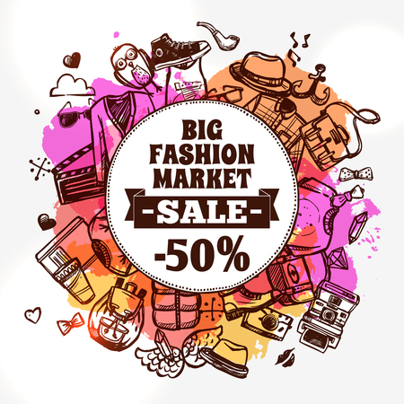 Hipster fashion clothing discount big market sale advertisement banner with circle shape composition doodle abstract vector illustration Çizim