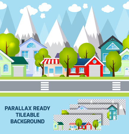 provincial: Daylight provincial town street view with parallax ready mountains peaks  landscape on background tileable abstract vector illustration. Editable EPS and Render in JPG format Illustration