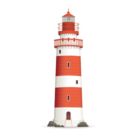 Lighthouse: Realistic red lighthouse building isolated on white background vector illustration