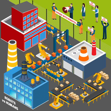 industry electronic: Isometric icons set  with  humans  protest action against the concept of automation industry  vector illustration