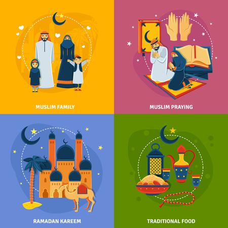 negocios comida: Iconos Islam establecidos con la familia musulmán Ramadán Kareem símbolos de alimentos y musulmanes rezando tradicionales aislados plana ilustración vectorial