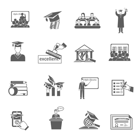 colleges: Higher education university and college seminar icon black set isolated vector illustration
