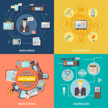 Journalism icons set with online and world news symbols flat isolated vector illustration