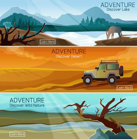 desierto: Descubra la naturaleza de la vida silvestre 3 banderas planas establecidas con el lago y el desierto aventuras abstracto aislado ilustración vectorial