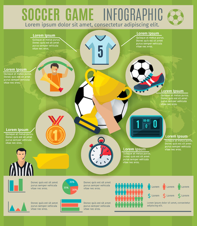 football play: Soccer game infographic set with sport trophy symbols and charts vector illustration