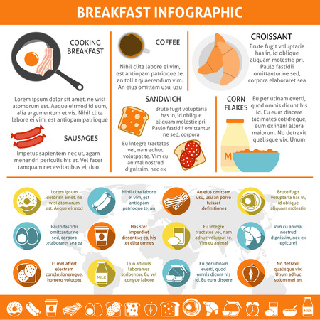 continental: Continental and british breakfast components coffee eggs croissant flat color infographics set vector illustration Illustration