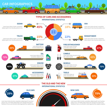 alumnos en clase: Types of cars and accessories infographic set with sedan truck and van flat vector illustration