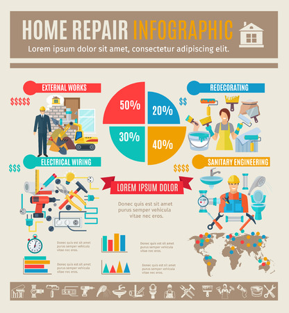 sanitary engineering: Home repair infographics set with house renovation symbols and charts vector illustration