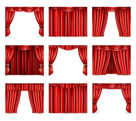 赤劇場のカーテン アイコンの異なるモデル設定現実的な分離ベクトル図
