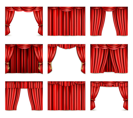 Different models of red theatre curtain icons set realistic isolated vector illustration