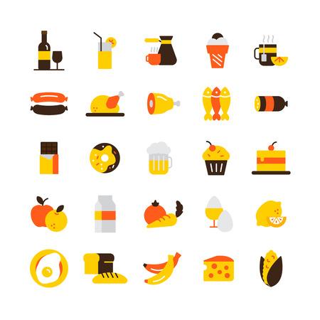 platanos fritos: Comida y bebida iconos conjunto con el chocolate carne y café plana aislados ilustración vectorial Vectores