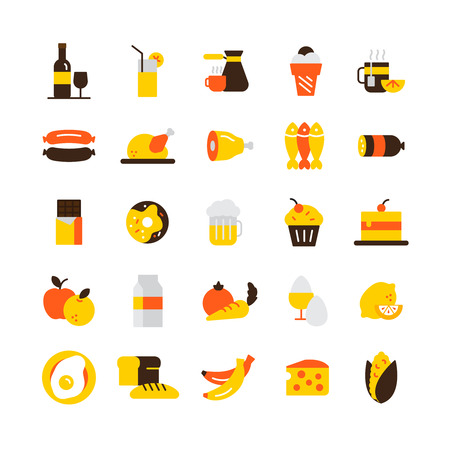 Food and drink icons set with meat chocolate and coffee flat isolated vector illustration Çizim